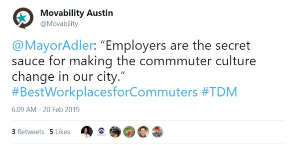 Movability Austin tweet 2019 Best Workplaces for Commuters